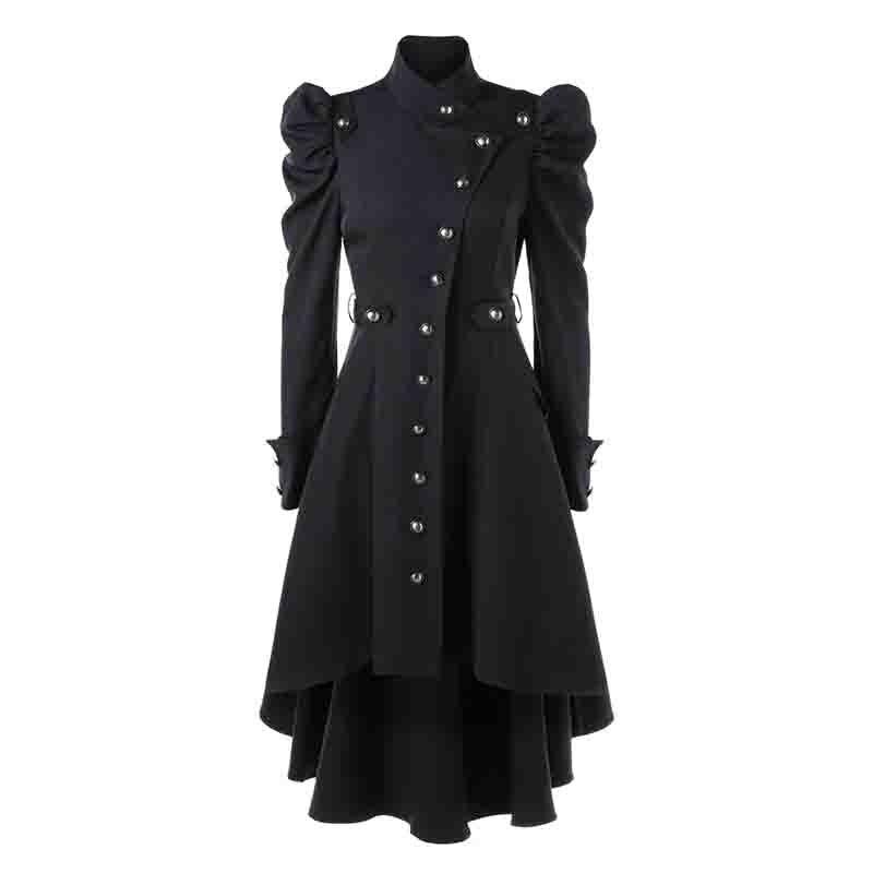 Women Retro Steampunk Long Coat Swallow Tail Trench Button Jacket Blazer Suits
