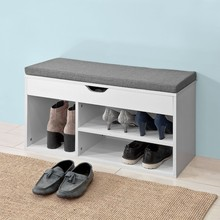 SoBuy FSR45-HG, White Shoe Storage Cabinet Shoe Rack Shoe Bench with Lift Up Bench Top and Grey Cushion