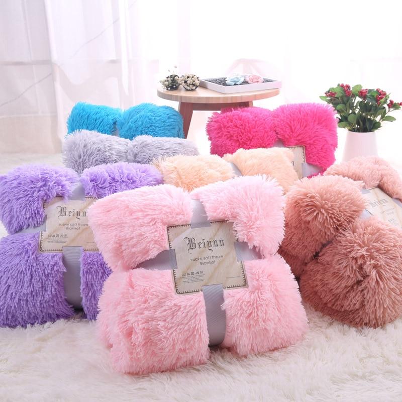 Super Soft Long Shaggy Fuzzy Fur Faux Fur Warm Elegant Cozy With Fluffy Sherpa Throw Blanket  50
