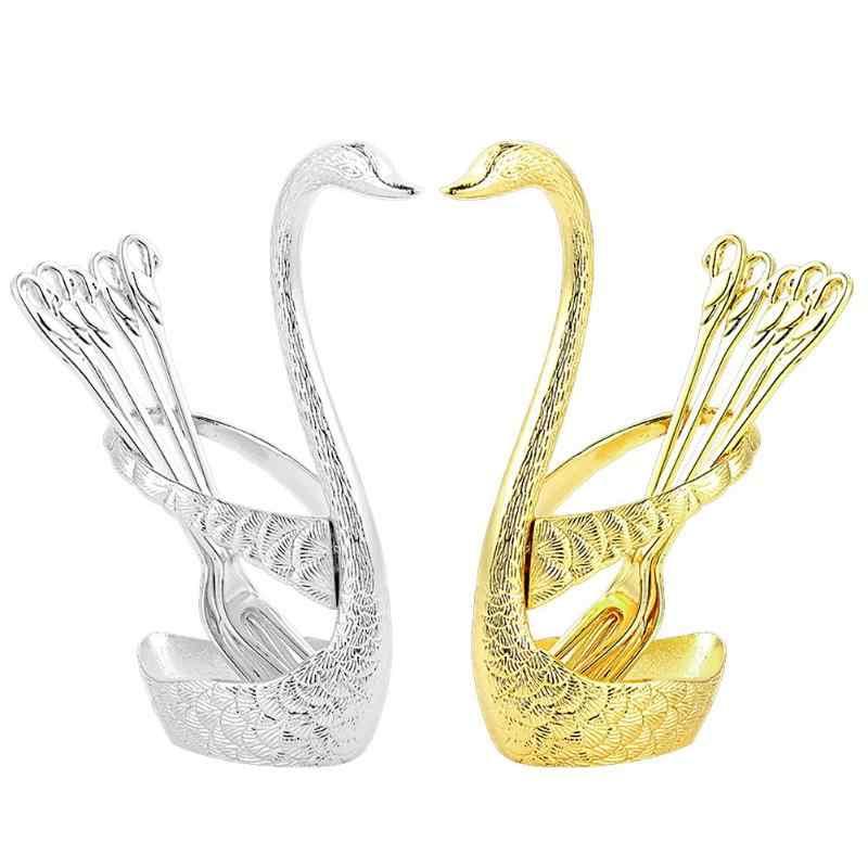 Нержавеющая сталь фрукты еда вилка ложка нож базовый держатель лебедь форма