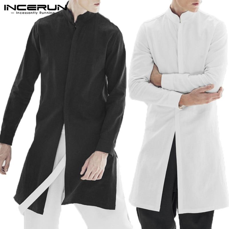 INCERUN Streetwear Men Shirt Cotton Long Sleeve Stand Collar Top Men Solid Indian Tops Casual Vintage Men Long Shirt 5XL