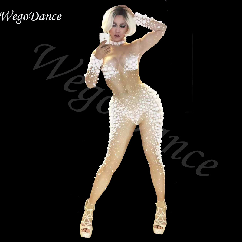 new Party nightclub singer Sexy White Small Balls Jumpsuit Rompers Women's Stretch Nude Bodysuit costume freeshipping