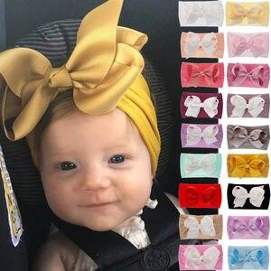 Мягкая повязка на голову с бантом для маленьких девочек, тюрбан с большим узлом