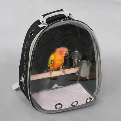 Outdoor Bird backpack With feeder Parrot Carriers Cage Parrot Bag With Wood Perch Pet Breathable Space Capsule Backpack CW201 gold metal duvar saati