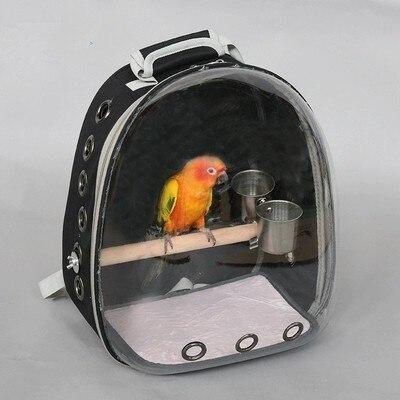 Ao ar livre mochila Com alimentador do Pássaro Papagaio Gaiola do Papagaio de Portadores Saco Com Poleiro De Madeira Pet Respirável Mochila CW201 Cápsula Espacial