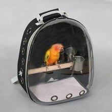 Уличная птица рюкзак с кормушкой попугай переноски клетка для попугая сумка с деревянной окуня ПЭТ дышащий пространство рюкзак капсулы CW201