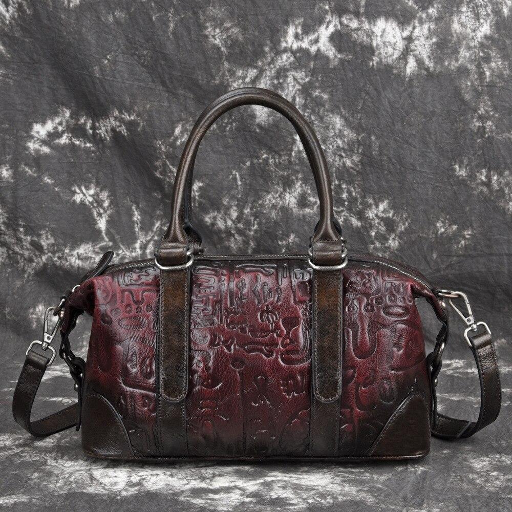 Genuine Leather Embossed Top Handle Bag Travel Handbag Vintage Tote High Quality Natural Skin Women Shoulder
