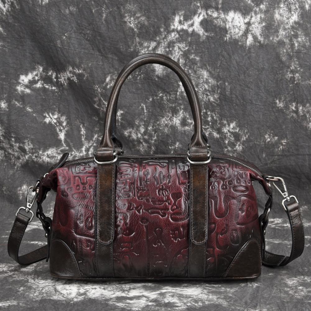 Echtes Leder Geprägte Top Griff Tasche Reise Handtasche Vintage Tote Hohe Qualität Natürliche Haut Frauen Schulter Cross Body Taschen-in Taschen mit Griff oben aus Gepäck & Taschen bei  Gruppe 1