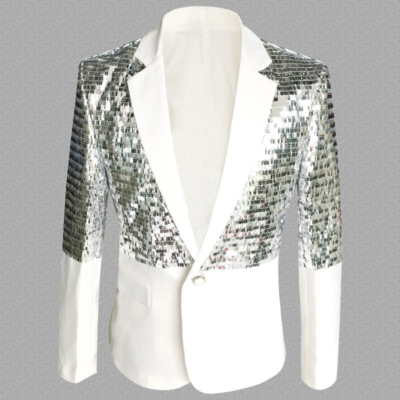 Sequin Splice Fashion Slim Blazer Masculino Performance Stage  Suit Jacket Studio Singer Costumes Blazer Hombre Plus Size S-5XL