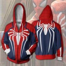 2019 Hoodies Sweatshirts Jas Hoodies Kostuum Legioen Kleding Spider Man PS4 Zip Hoodie 3D Gedrukt Rits Hoodies Tops LLS 172