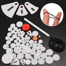 все цены на 81pcs Plastic Gear Wheel Assorted Kit With Belt Rubber Band For Toy Robot Car Ship Motor Shaft Model Crafts Accessories онлайн
