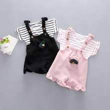 0-1-2-year-old 3-year-old girl summer dress short-sleeved suit female baby trousers shorts two sets of clothes