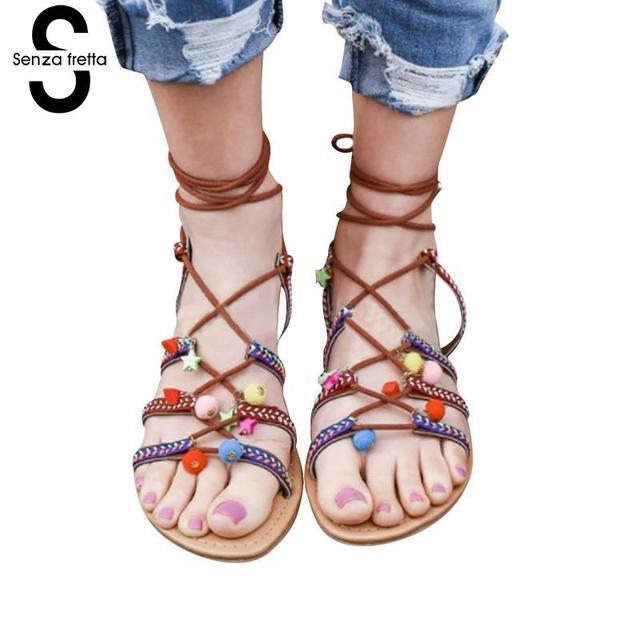 1d261ba8402 Senza Fretta New 2018 Women Sandals Fashion Gladiator Sandals Flip Flops  Summer Style Casual Shoes Woman Sandalias LDC0424A