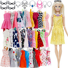 20 Pcs/Lot = Random 10x Mixed Style Mini Dress + 6x Plastic Necklaces + 4x Black Glasses Clothes For Barbie Doll Accessories(China)