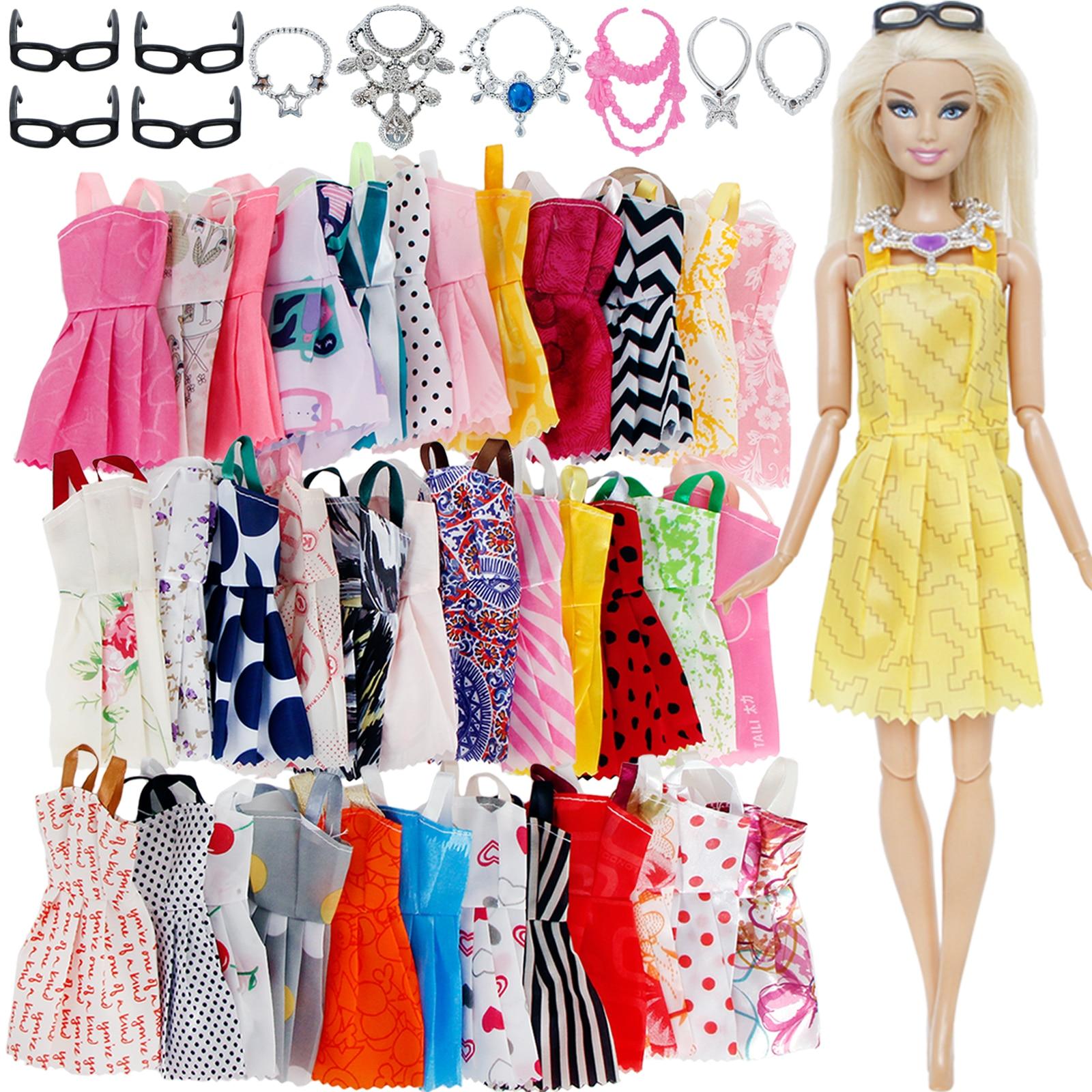 20 Pcs/Lot = Random 10x Mixed Style Mini Dress + 6x Plastic Necklaces + 4x Black Glasses Clothes For Barbie Doll Accessories