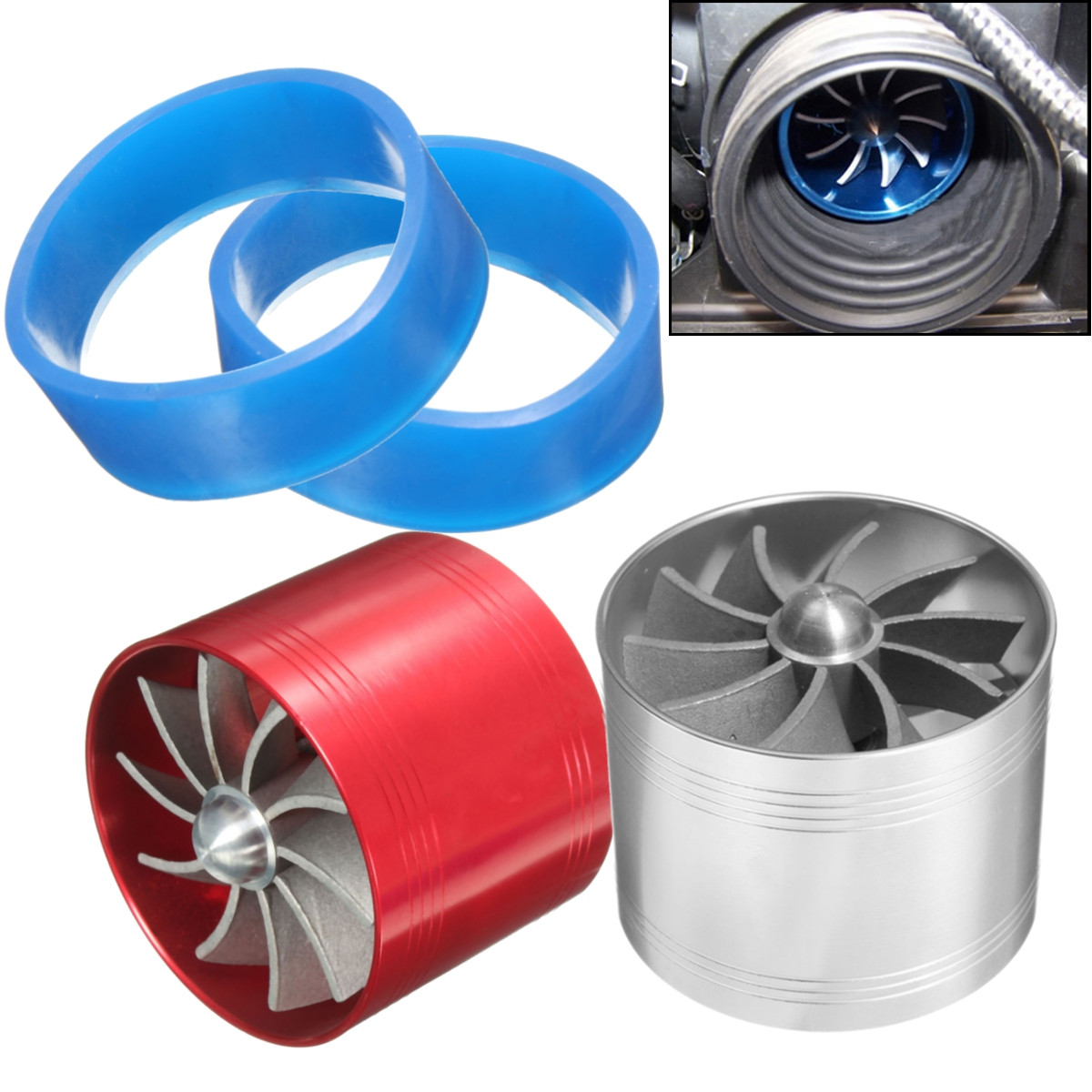 New Double Turbine Turbo Air Intake Gas Fuel Saver Fan Supercharger Deft Design