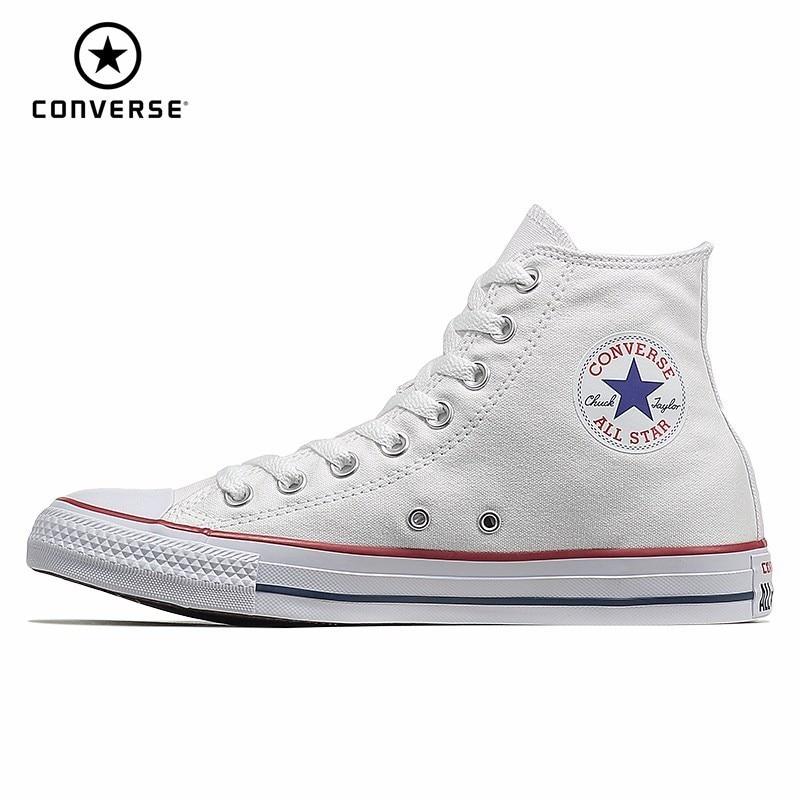 CONVERSE ALL STAR hommes et chaussures pour femmes chaussures de skateboard toile haute aide fonds classique blanc mouvement chaussures décontractées #101009/10