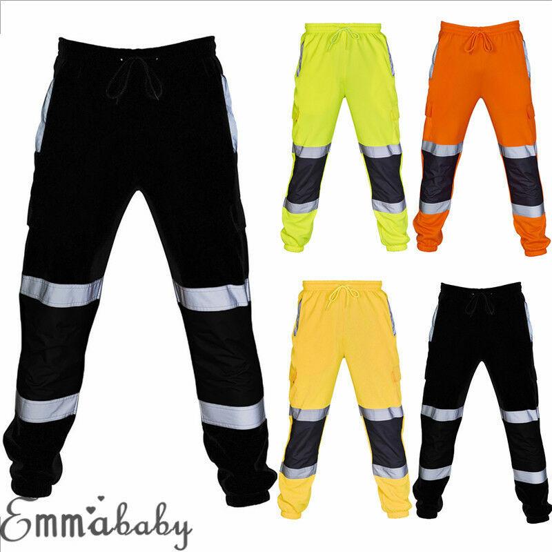 Pantalones de chándal ajustados para hombre, pantalón de chándal reflectante con rayas fluorescentes, ropa de trabajo de seguridad|Pantalones tipo cargo| - AliExpress