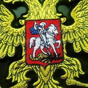 Патчи золотого и русского флага, патчи железные на пальто, резиновая вышивка с орлом на спине, аксессуары для одежды, байкерские патчи
