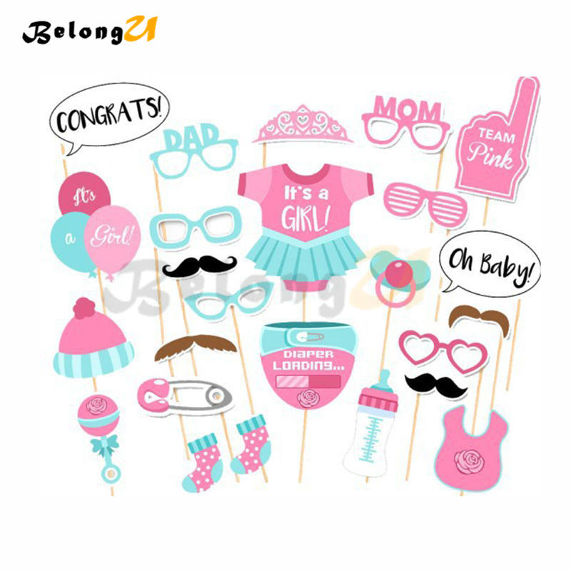 25pcs Baby Shower Girl Photo Booth Party Supplies for Photo Shoot Props Gender Reveal Photobooth Babyshower Events Decoration