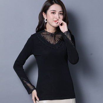 1pcs Ladies Plus size blouses tops 2020 Winter Lace mesh Splicing Hollow thickening Black Primer shirt womens Skinny Sexy shirts