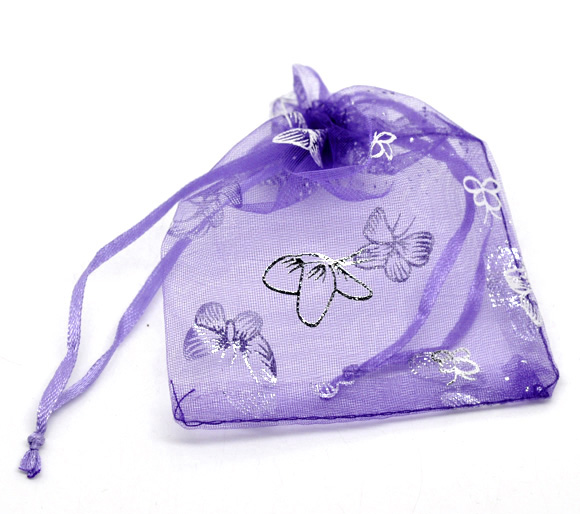 100 Butterfly Organza Wedding Gift Bags&Pouches 7x9cm (B13455)