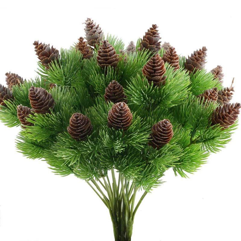 Hot 4PCS Fake Cedar Pine Branches With Artificial Pine Cones Plastic Shrubs Faux Greenery Bushes Bundles Table Centerpieces