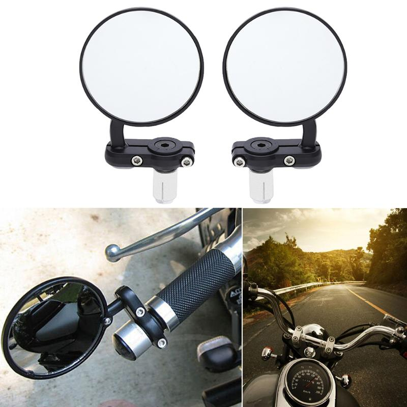 New 2Pcs Universal Motorcycle Mirror Aluminum Black 22mm Handle Bar End Rearview Side Mirrors High Quality Motor AccessoriesNew 2Pcs Universal Motorcycle Mirror Aluminum Black 22mm Handle Bar End Rearview Side Mirrors High Quality Motor Accessories