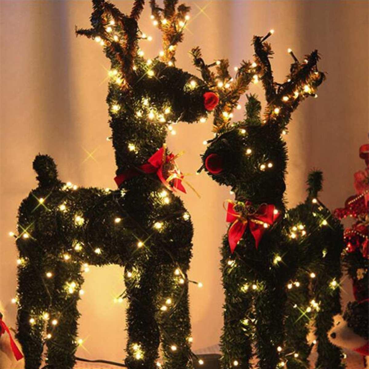 30/40/50/60 cm rena de natal do vintage com 10 m conduziu a luz do feriado grama artificial decoração eua plug cervos pingente ornamentos novo