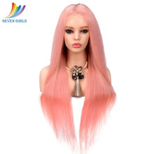 Sevengirls Glueless Straight Pink Peruvian Full Lace Human Hair Wigs With Baby Hair Virgin Human Hair For Black Women(China)