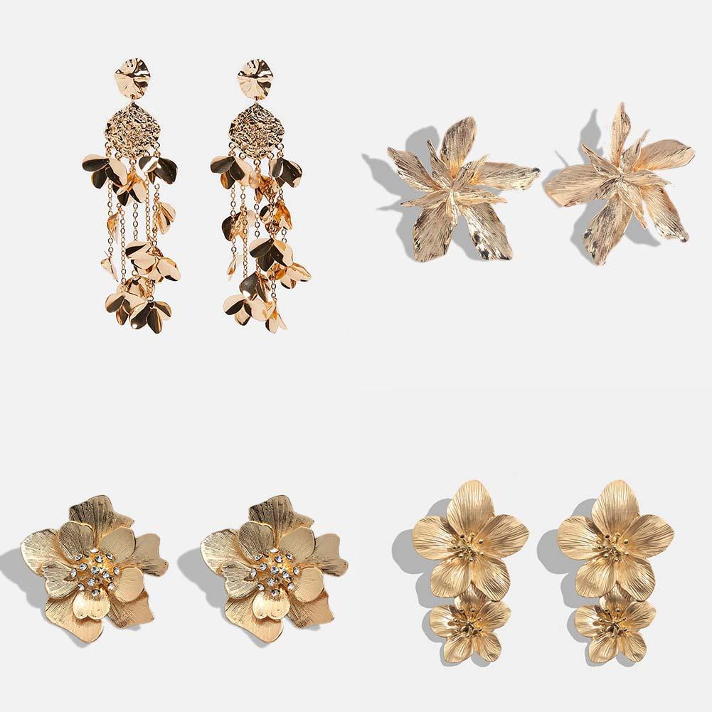 JUST FEEL ZA Flowers Long Dangle Earrings For Women Gold Color Metal Vintage Fringed Statement Drop Earring Fashion Boho Jewelry