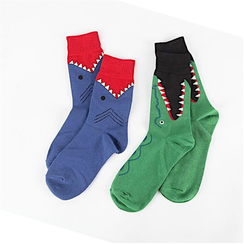 men   Socks   Hipster Cartoon Shark Animal Print Funny Vintage Streetwear Harajuku Hip Hop Female Cotton Hosiery Autumn