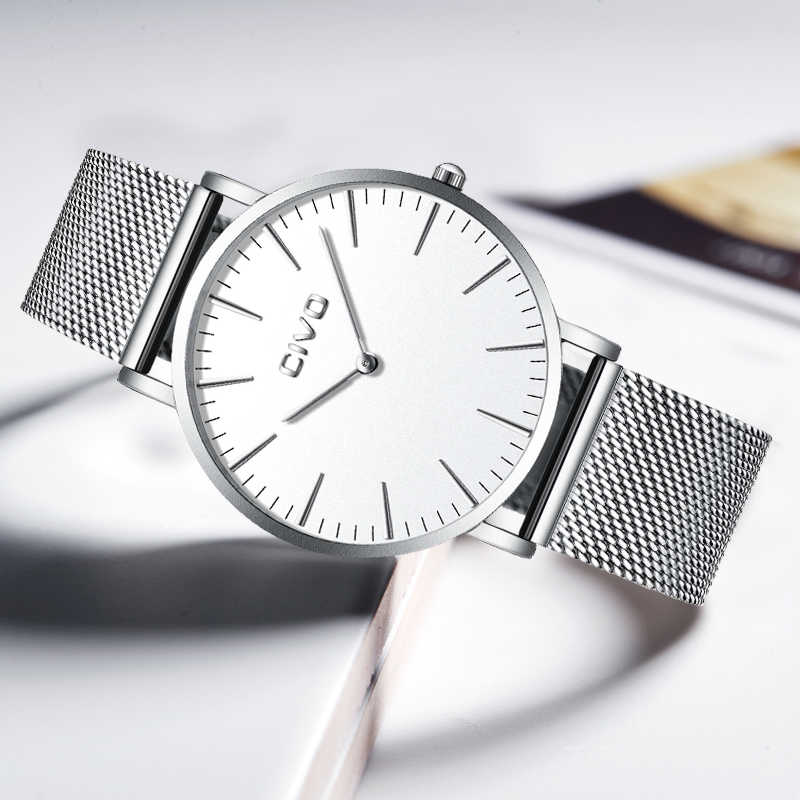 CIVO relojes de moda para hombre con correa de malla de acero inoxidable resistente al agua relojes para hombre Simple ultrafino 6 MM pulsera de plata ver