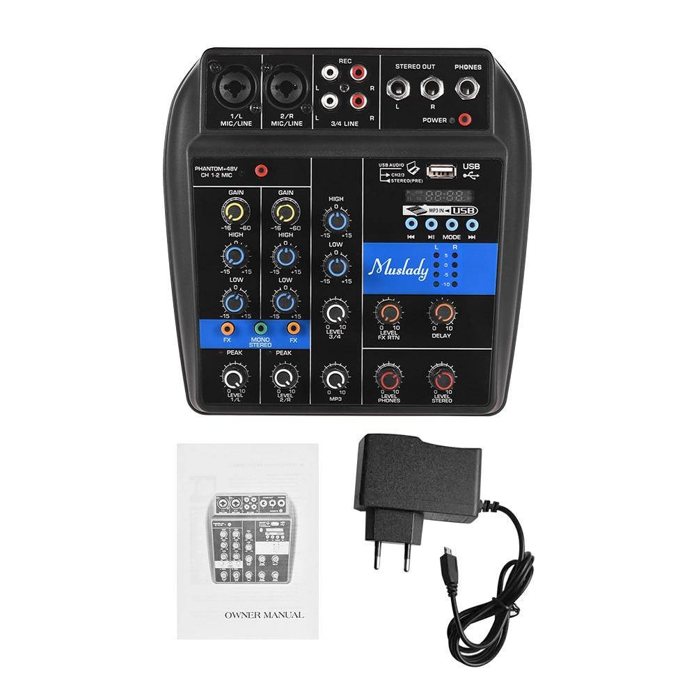 Muslady S 1 4 canales consola mezcladora de Audio Digital efectos de Reverb integrados + Phantom Power 2 bandas EQ fuente de alimentación DC 5 12V-in Accesorios y piezas de instrumentos eléctricos from Deportes y entretenimiento on AliExpress - 11.11_Double 11_Singles' Day 1