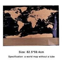 82,5X59,4 см черный карта мира путешествия царапина карта персональная стереть карту мира без трубки Креативные украшения настенные наклейки