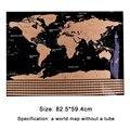 82.5X59.4cm черная карта мира для путешествий  карта с защитой от царапин  персонализированная карта мира без трубки  креативные наклейки на стен...