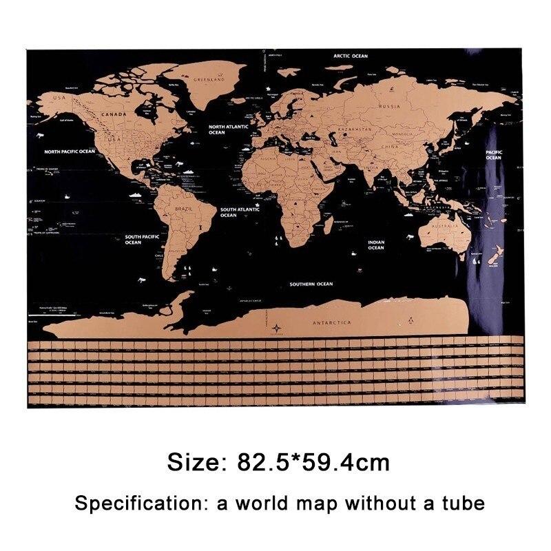 82.5X59.4cm Mapa de viaje del mundo negro mapa rascable borrado personalizado mapa del mundo sin tubo decoración creativa pegatinas de pared