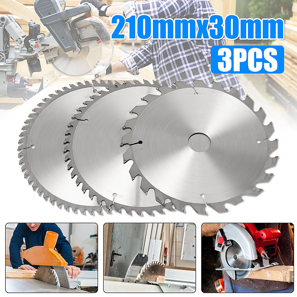 3pcs 210mm 24 48 60t Tct Circular Saw Blade Wood Cutting