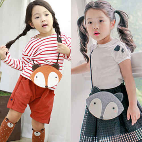 Miúdos bonitos Do Bebê Meninas Sacos de Ombro Raposa Mensageiro Estilo De Armazenamento Único Crossbody Bolsa Clutch Bolsa Carteira Bolsa