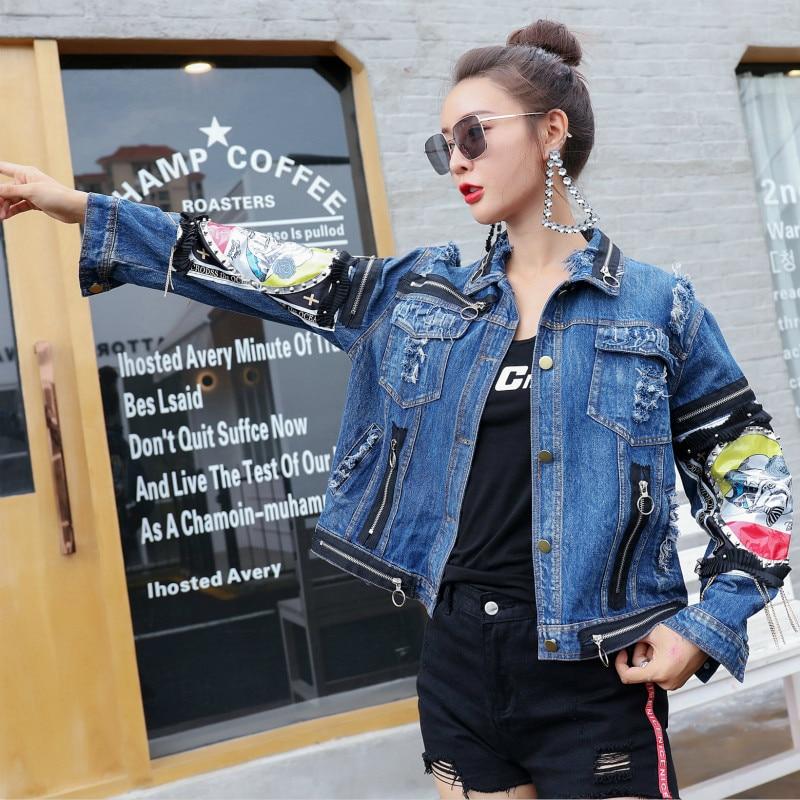 Jeans Blue Cappotti Del Decorazione Autunno Giacca Monopetto E Della Ad2077a Giubbotti Ribattino Cappotto Qing Sportiva Appliques Mo Di 2018 Tuta Brevi a8q0gPRB