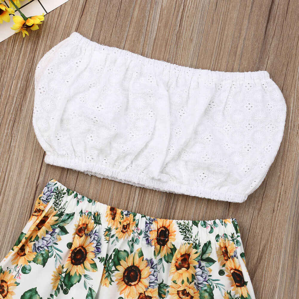 650924ca53bf ... 2pcs Toddler Kids Baby Girl Sunflower Outfit Solid Crop Top + Floral  Long Skirt Girls Summer ...