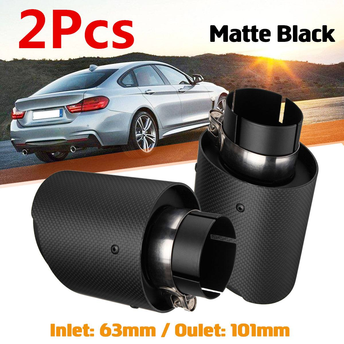 2Pcs Universal 63 101mm Car Carbon Fiber Exhaust Rear Muffler Tip Pipe Car Rear Tail Throat
