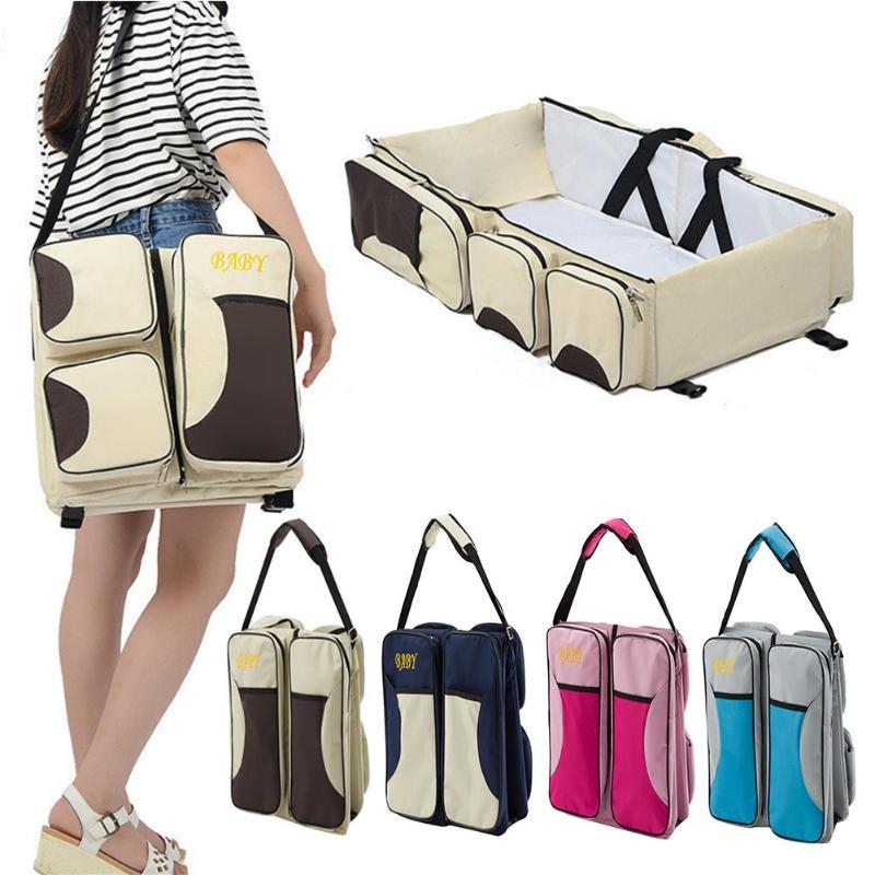 Portable Travel Diaper Bag Foldable Baby Cribs Bed Diapers Bags Multi-function Mummy Shoulder Bag Nappy Waterproof Nursing Bag