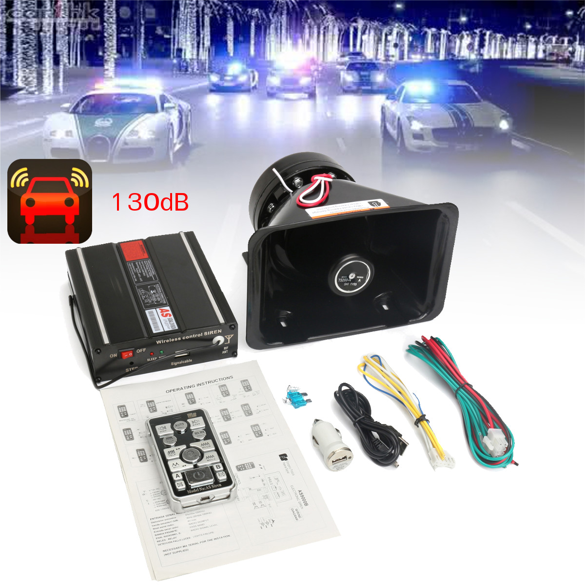 200w 8 Sound Car Horn Alarm Siren warn Remote Controll Ambulance Warning Loud speaker Vehicle Megaphone Emergency