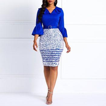 Blue Flare Sleeve Belt Fashion Midi Dress