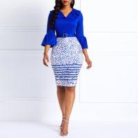 Clocolor Women Midi Dresses Elegant Office Ladies Pink Bodycon Print Flare Sleeve Belt Female Blue Fashion Sexy Plus Size Dress