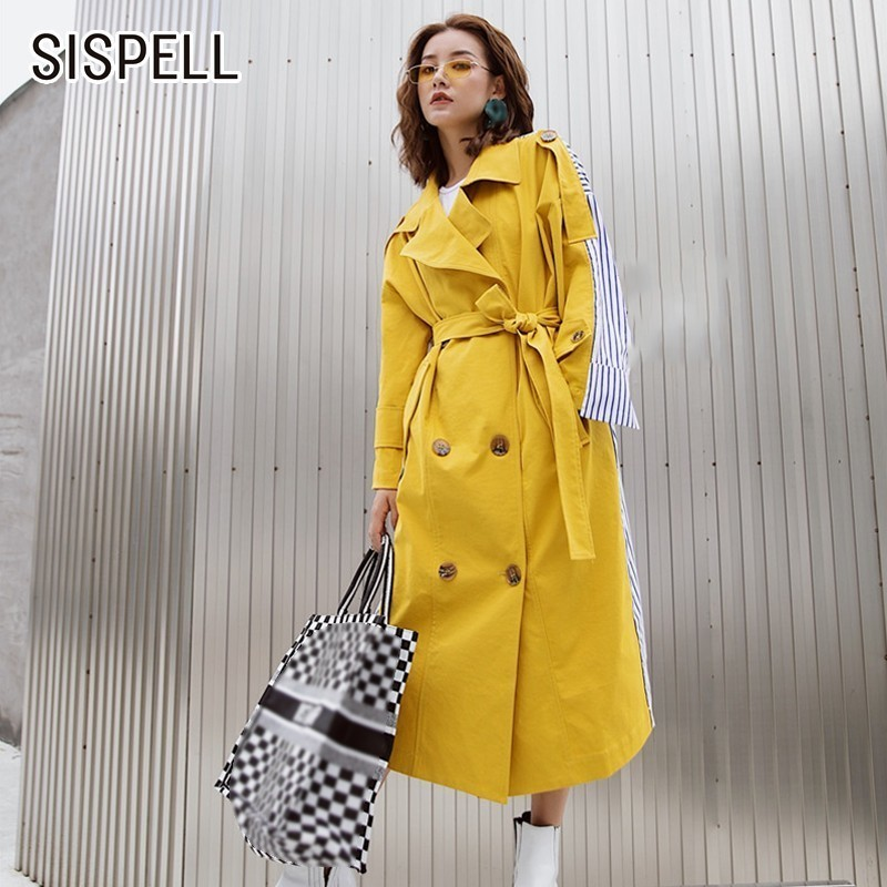 SISPELL Patchwork Striped Women's Windbreaker   Trench   Female Coat Long Sleeve Bandage Windbreakers Autumn Fashion Elegant Clothes