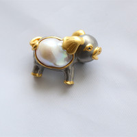 Free shipping 925 silver beautiful lovely pig painting baraoque pearls brooches