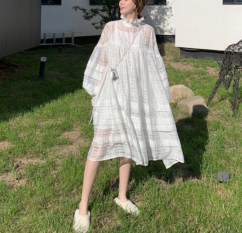 DEAT 2019 春の新作ファッション女性バットウィングスリーブオーガンザの送料女ドレスの vestido WD51000S  グループ上の レディース衣服 からの ドレス の中 1
