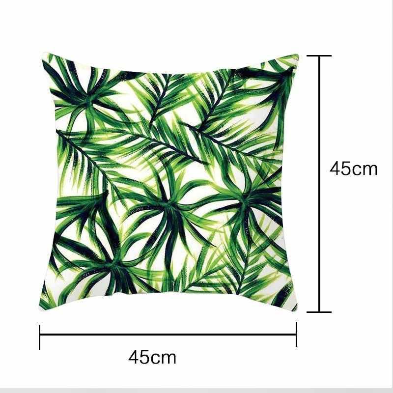 צמחים טרופיים כרית מקרה פוליאסטר דקורטיבי ציפות ירוק עלים לזרוק כרית כיסוי כיכר 45*45cm Poszewki Na Poduszki
